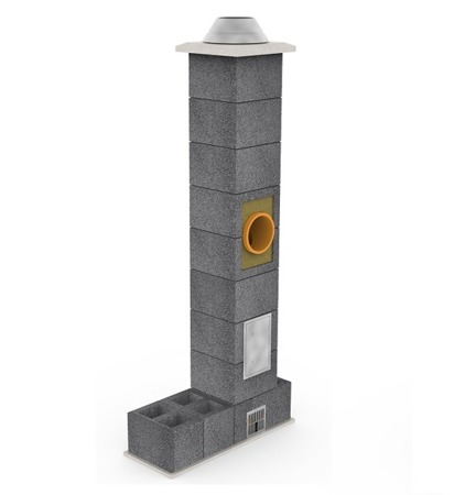 System kominowy KRUK UNIVERSAL 12M - z wentylacją - trójnik 45°