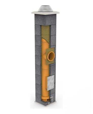 System kominowy KRUK UNIVERSAL 8M - poczwórna wentylacja - trójnik 45°